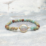 Natural Amazonite & Pearl Bracelet