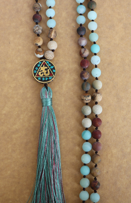 Long Boho Gemstone Mala Necklace - Vanillya Spiritual Jewelry