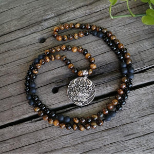 GOOD LUCK: Black Onyx And Tigers Eye Mala Beads Necklace/Bracelet