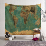 World Map Pattern Wall Tapestry