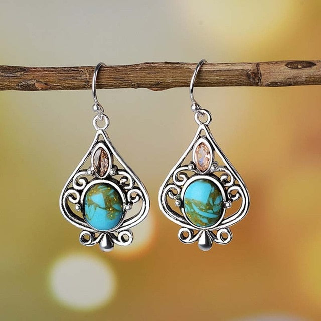 Boho Blue Stone earrings - silver and crystal - Vanillya Spiritual Jewelry