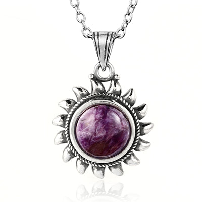 925 Sterling Silver & Purple Charoite Necklace