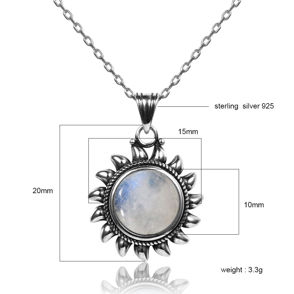 925 Sterling Silver & Moonstone Sunburst Necklace