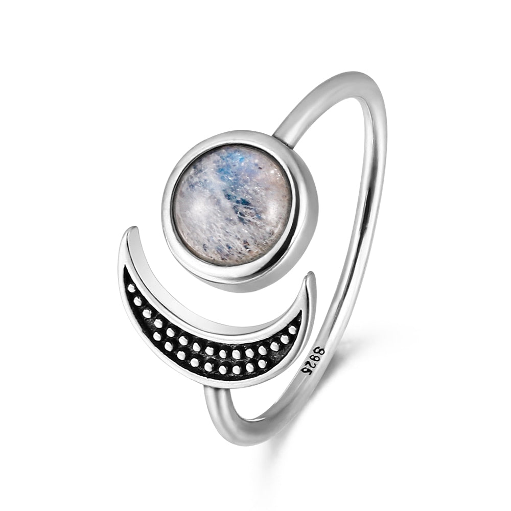 925 Sterling Silver Natural Moonstone Boho Ring - Vanillya Spiritual Jewelry
