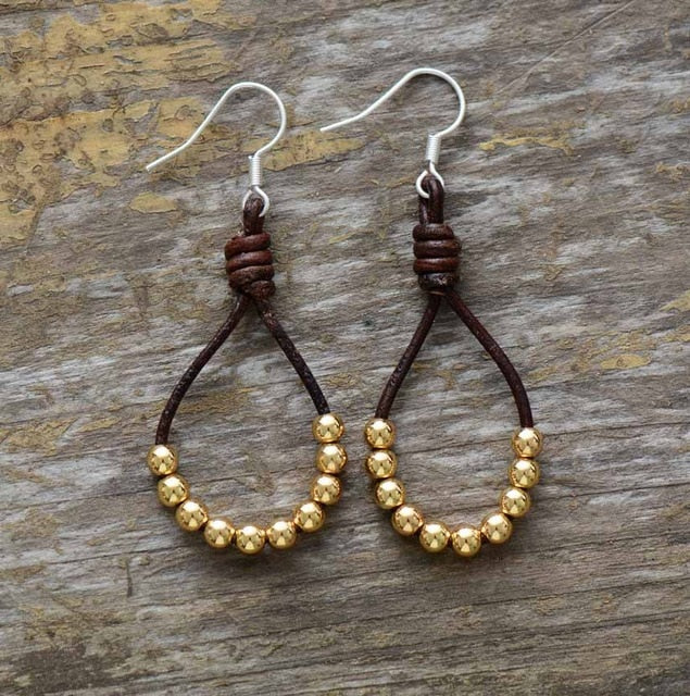 3-Color (Leather & Copper Bead Bohemian Earrings)