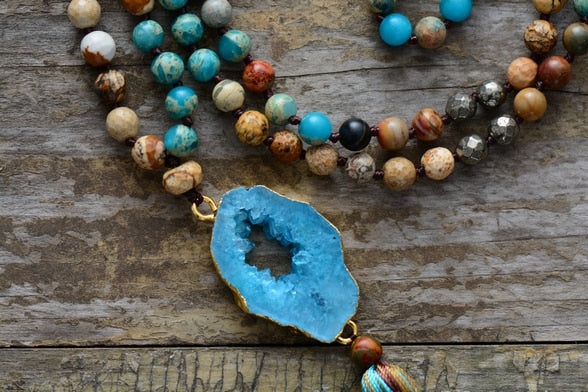 Magical Blue Druzy Stone Necklace