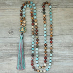 Long Boho Gemstone Mala Necklace