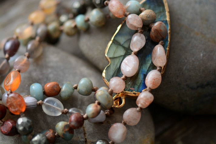 Handmade Natural Strawberry Quartz & Pyrite Necklace with Labradorite Pendant