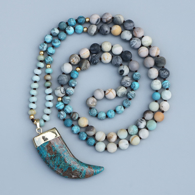 Enjoy-Life Magic Blue Stone Mala Necklace