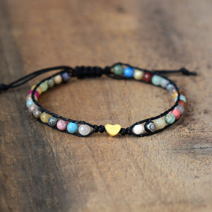 Gold Heart Mixed Stone Bracelet - Vanillya Spiritual Jewelry