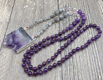 Natural Amethyst Druzy Pendant Necklace