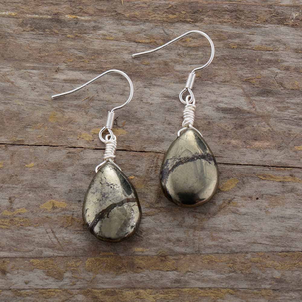 Natural Pyrite Stone Teardrop Earring