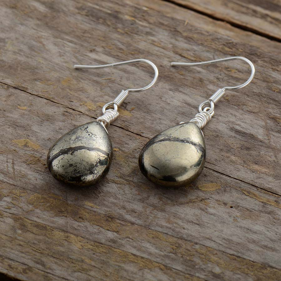 Natural Pyrite Stone Teardrop Earring - Vanillya Spiritual Jewelry