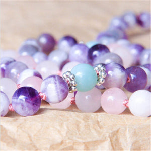 Balance Amethyst and Pink Quartz Mala or Bracelet