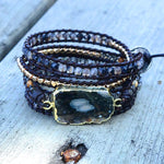 Protection Black Ocean Agate Stone Bracelet