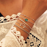 5PCs Ethnic Hollow Moon Rhinestone Bracelet