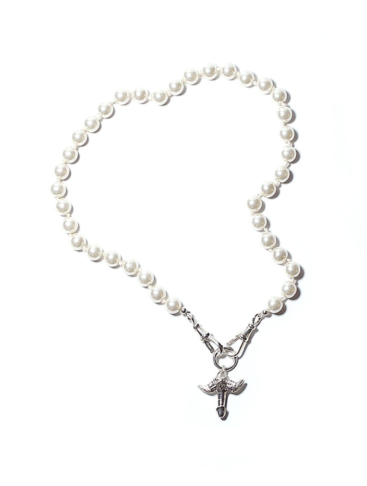 The Feltt Silver Fascinus Phallic Pendant Charm With Pearl Choker Necklace