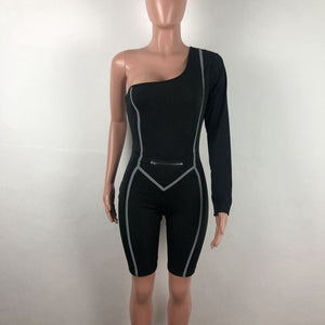 One Shoulder Sexy Bodycon Short Jumpsuit Skinny Rompers One Piece Club Outfits Long Sleeve Reflective Striped Playsuit