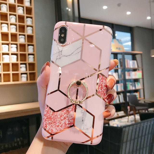 Phone Case For iPhone 11 11Pro Max XR X XS Max 6 6S 7 8Plus Luxury Plating Line Geometric Marble Diamond Ring Stand Cover