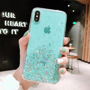 Glitter Bling Sequins Case For iphone 11 11Pro Max 8 7 Plus 6S X XS Max XR Shining Star Transparency Phone Case Soft Cover