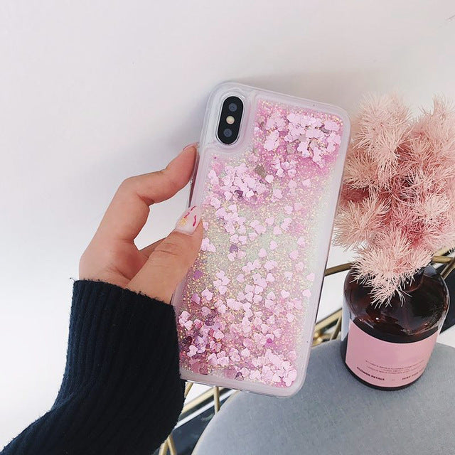 Love Heart Glitter Phone Case For iphone 11 X XR XS MAX Liquid Quicksand Cover For iphone 5 5S SE 6S 6 7 8 Plus Bling Sequins