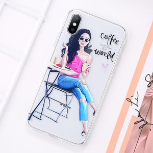 Beautiful Girl Pattern Case For iPhone 6S 6 7 8 Plus 11 Pro Max Transparent Soft Phone Cover For iPhone 11 X XR XS MAX