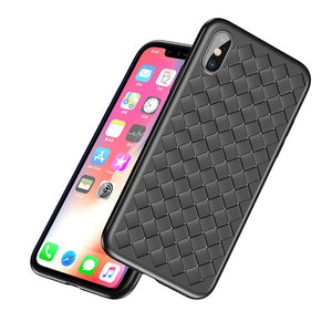 Phone Bag Case For iPhone 8 7 6 6s Plus X 10 Capinhas Luxury Weave Grid Silicone Cover Case For iPhoneX Coque Phone Pouch