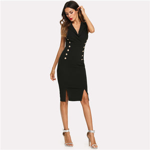 Black Elegant Notched V Neck Double Button Sleeveless Pencil Knee-Length Skinny