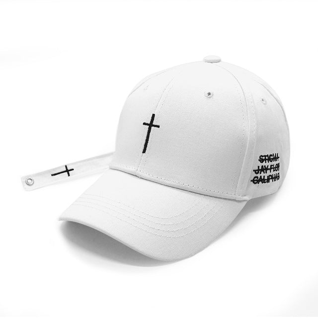 Women Men Cross Belt Baseball Cap Black Embroidery Letter Snapback Hat