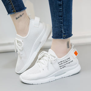 Shoes Woman Flats Fashion Lace-Up White Black Breathable