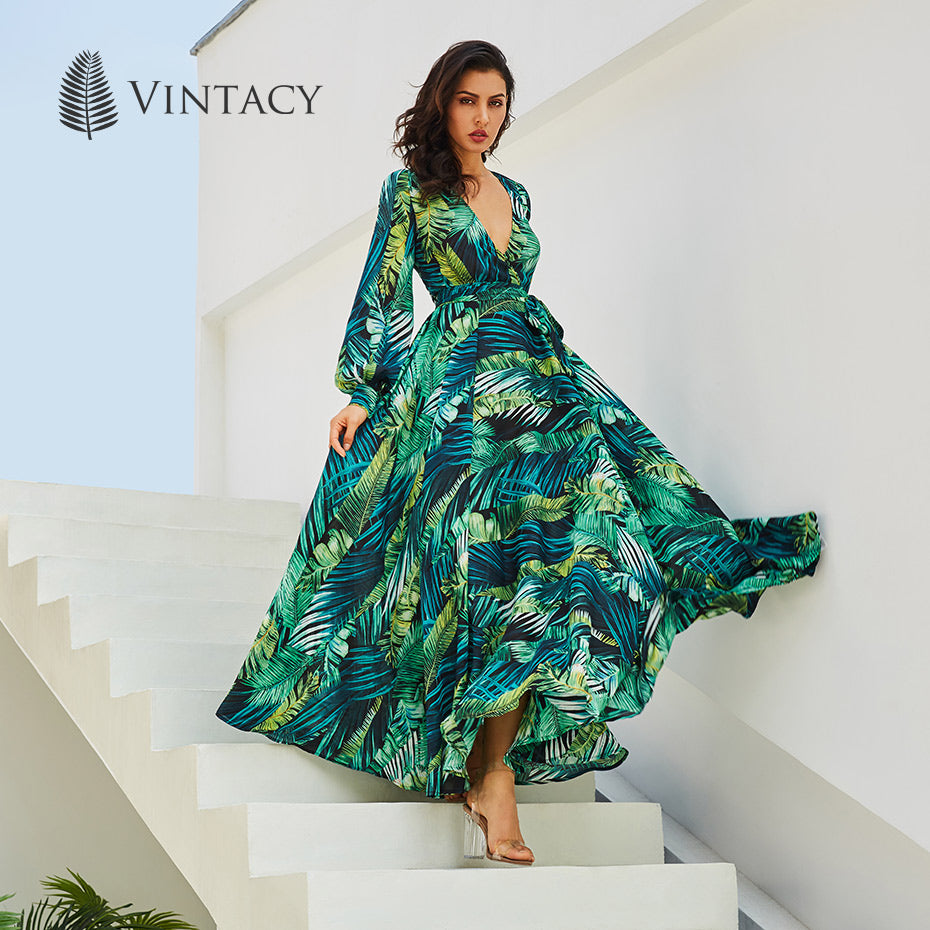 Long Sleeve Dress Green Tropical Beach Vintage Maxi Dresses Boho Casual V Neck Belt Lace Up Tunic Draped Plus Size Dress