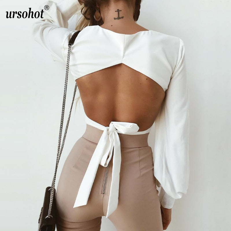 Fashion Open Back Lantern Sleeve Blouse Shirts Women 2018 Summer Square Neck Bandage Tops Streetwear White Cropped Tops