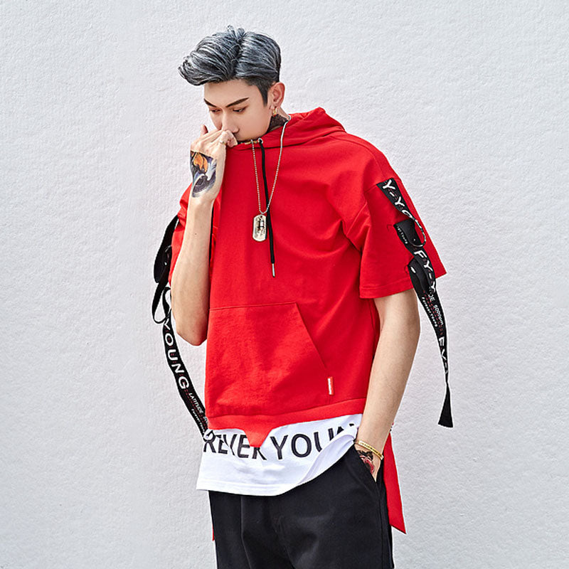 Men ribbons patchwork hip hop punk t shirt oversize hooded tee shirts tops women short sleeve hiphop streetwear couple hoodie