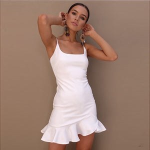Hot Sale Ruffles Solid Sling Summer Dresses Sleeveless