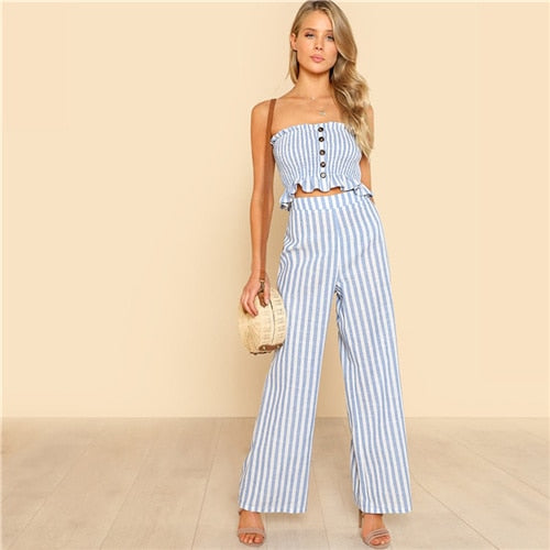 Blue Bohemian Shirred Ruffle Hem Strapless Crop Cami Top and Wide Leg Pants