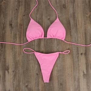 micro bikini suit swimsuit sexy solid color