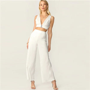 Plunging Neck Top And High Waist Palazzo Pants Set White Solid Sexy Sleeveless