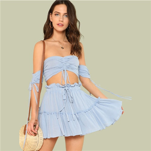 Drawstring Crop Bardot Top With Tiered Skirt Set Sexy Solid Frill Sleeveless