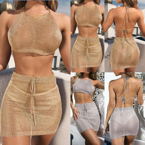 Sexy Women Mesh Cover Up Two Piece Crop Top and Skirt