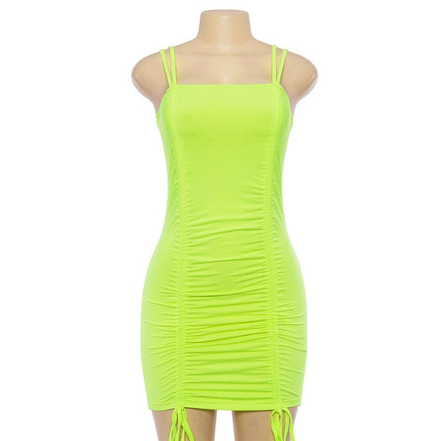Neon Green Bandage Sexy Party Dress Night Club Wear 2019 Women Summer Spaghetti Strap Mini Bodycon Boho Beach Dresses