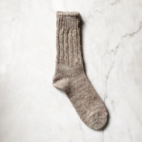 These beautiful chunky cotton/linen blend socks are the perfect companion for your shoes or keeping your feet cozy at home.