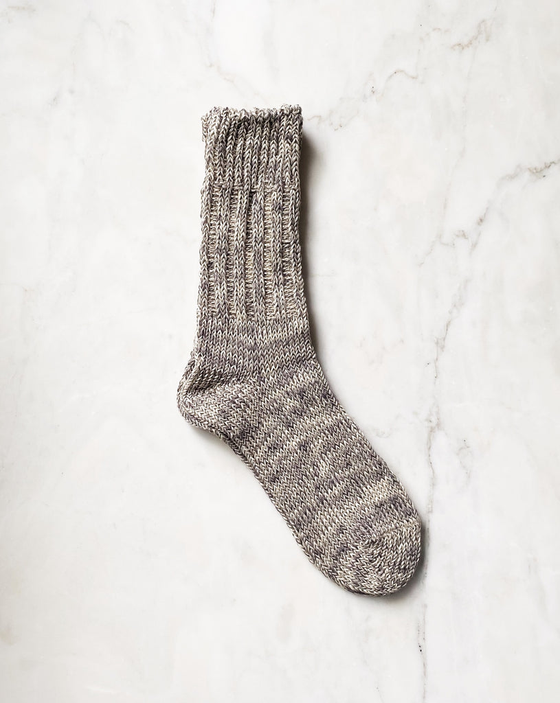 Cotton Linen Socks - Moon Grey. These beautiful chunky cotton/linen blend socks are the perfect companion for your shoes or keeping your feet cozy at home.