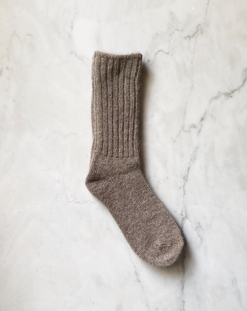 Mohair Socks - Light Brown. These beautiful mohair blend socks are the perfect companion for your shoes or keeping your feet cozy at home. Crew length with rib detail.