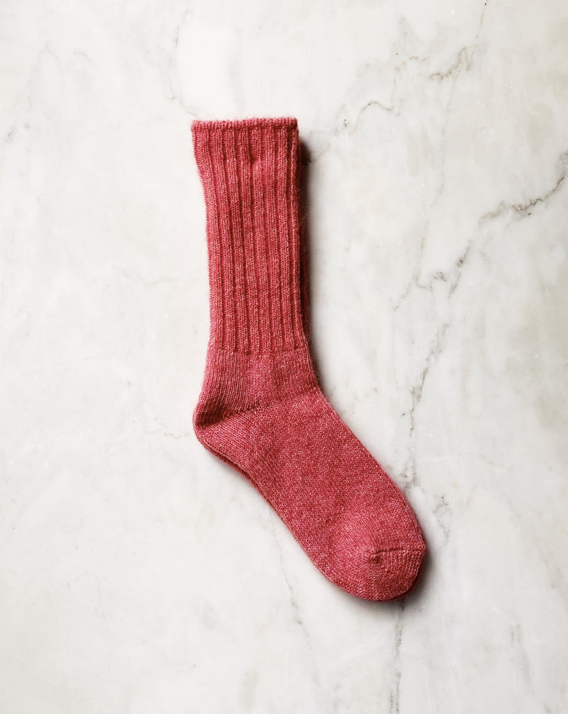 Mohair Socks - Pink. These beautiful mohair blend socks are the perfect companion for your shoes or keeping your feet cozy at home. Crew length with rib detail.