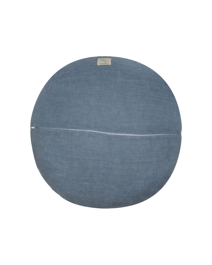Oski and Lottie | Vintage Blue Rose Round Linen Cushion. Round linen cushion featuring a blue rose printed front and a vintage blue Oeko-Tex certified linen reverse. Feather insert.  Our printed Belgian linens are created in Melbourne using non toxic, solvent free, water based pigment inks. All block colours have been woven from premium grade flax, sourced from Belgium and France.