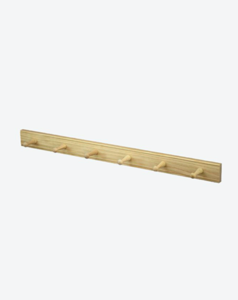 Oak Peg Hook Rail - 6 Pegs. This beautiful Shaker-style oak peg hook rail is a functional way to store bags, accessories and stylish cleaning essentials. Ideal for entrances and hallways, bedrooms, kitchens, bathrooms or laundries.