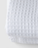 Fog Linen White Linen Waffle Towels. Based on traditional European towels, Fog uses raw linen to create a textile that is long-lasting and gets softer & more absorbent with each wash. Plus, the waffle texture gently exfoliates as you dry.