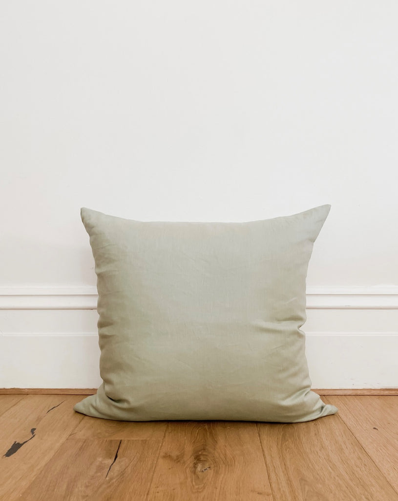 Linen Cushion Cover -Sea Salt. A beautiful and comfortable cushion made from Vintage Finish Linen. Vintage Finish Linens feature a uniquely 'worn-in' look and super soft handle. This finish is achieved through careful selection of Belgian-origin flax fibres, a specialised spinning process and a cold-pad batch dyeing system, certified to OEKO-TEX Standard 100. Finished with an invisible zip.