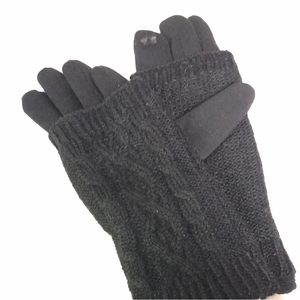 Gloves with knit sleeve