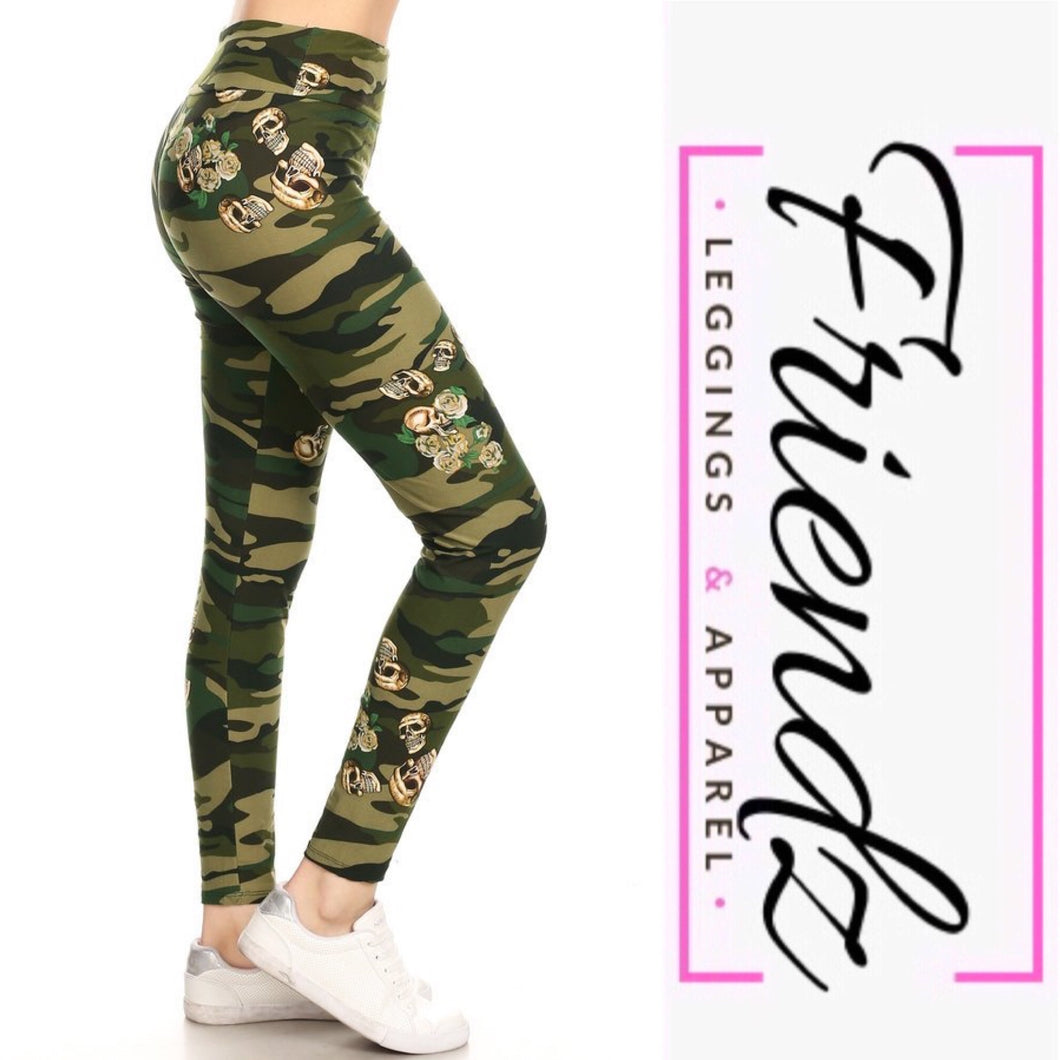 Green Camo with skulls - Friendz Leggings Apparel